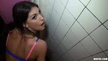 August Ames sexy public bathroom sex