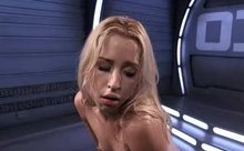The sybian has her sweating and trembling