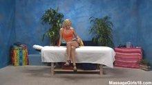 Carmen Monet boned silly on massage table
