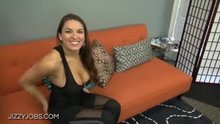 Hot Burnette clothed titty fuck