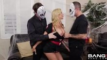 Alexis Fawx fucks her step-son and boyfriend at a Halloween party