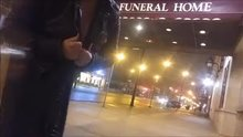 Flashing my 36E naturals on a Chicago street. Putting the FUN back in funeral home. ;)