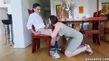 Chanel preston giving BJ while guy is afraid to get caught.