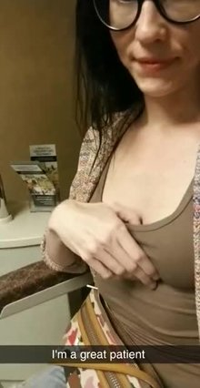 My little boobs at the optometrist office