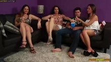 3 clothed hotties, 1 lucky guy