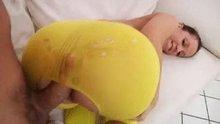 Yellow spandex assjob