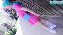 Cosplay woman flashing/masturbating in public garden