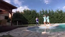 Stopping time at the pool and having fun with Gina Gerson and Marica Hase