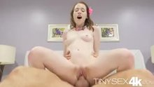 Tiny Alice Marchesi riding a big dick