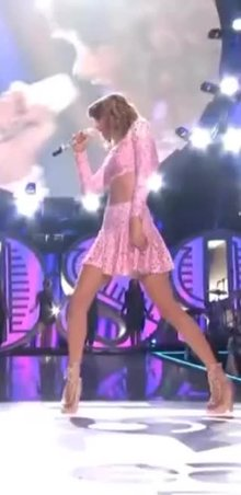 Taylor Swift skirt flick