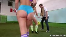 Jada Stevens and Remy LaCroix playing soccer