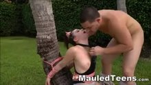 Teenager Hottie Hogtied Outdoors And Face Fucked