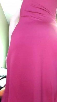 Red dress no panties (f)