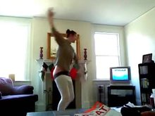 Mooning ballerina getting silly in the living room