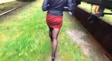 Amazing blowjob in leather jacket!