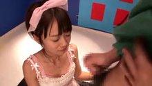 Asuka Hoshino cumshot 1 hangs from her chin for a bit