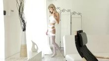 gina gerson in fishnet stockings and a garter