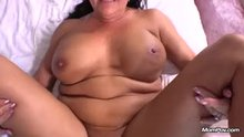 Older milf lays there and takes it!