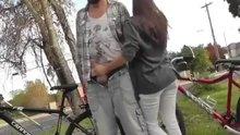 Woman gives boyfriend a handjob and sucks his cock in public