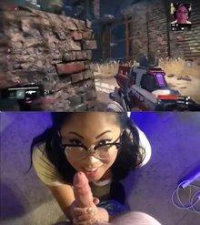 Gamer woman gets a facial