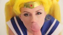 Lexi Belle as Sailor Moon cosplayer gets facial