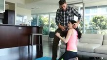Yoga instructor forces Miranda Miller into position